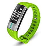 Fitness Tracker Cardiofrequenzimetro da Polso Impermeabile con 10 Funzioni E Touch Screen per Smartphone Android O iOS,Green