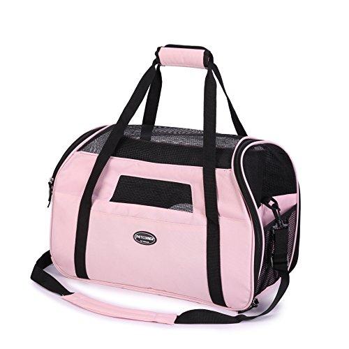 Kaka mall Transporttasche für Katzen Hunde Comfort Fluggesellschaft zugelassen Travel Tote Weiche Seiten Tasche für Haustiere(S,Pink)
