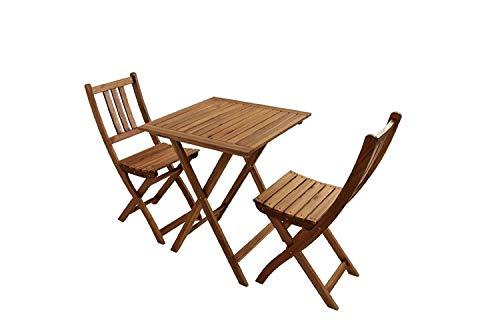 SAM® Conjunto para balcón, 3 Piezas, Mueble de jardín de Madera de...
