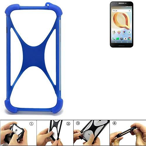K-S-Trade Handyhülle für Alcatel A30 Plus Silikon Schutz Hülle Cover Case Bumper Silikoncase TPU Softcase Schutzhülle Smartphone Stoßschutz, blau (1x)
