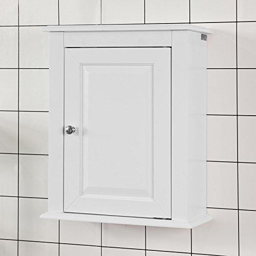 SoBuy® FRG203-W Hängeschrank mit einer Tür Wandschrank Badschrank Küchenschrank Medizinschrank Weiß BHT ca: 40x49x18cm