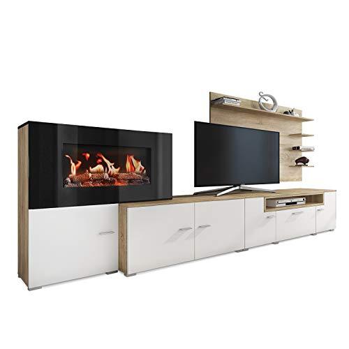 SelectionHome - Mueble salón Comedor con Chimenea eléctrica, Medidas: 290 x 170 x 45 cm de Fondo Blanco...