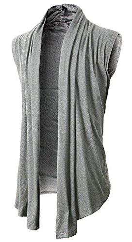 Brinny Herren Strickjacke Open Jacke Lang Cardigan Knit Mantel Strick Jacke Hoodie Hoody Sweatshirt Sweatblazer KS46-Hellgrau