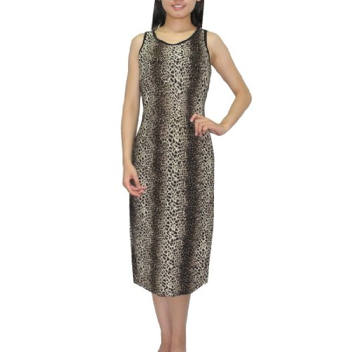 Damen Thai exotic sexy elegant sleeveless casual long dress schwarz & braun