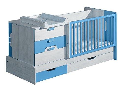 *Gitterbett NUKI Mitwachsendes Babybett Kinderbett Multifunktionsbett mit Wickelauflage (Norwegische Kiefer – Hellblau)*