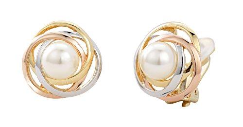 Traveller® Schmuck Ohrring Ohrclip mit Crystals from Swarovski® - 22kt vergoldet oder rhodiniert - Perle weiß Ø 10mm (3-tone)