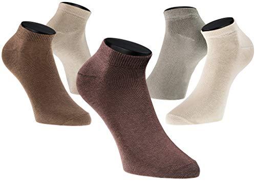 PHINOMEN 10er Set Sneakersocken Farbset: Brautöne Mix - Füßlinge Damen 80% Baumwolle ideal für Sport Größe 35-38 - Füßlinge-set