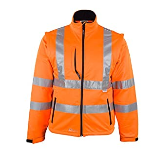 Asatex 8060O XXXXL Prevent High Visibility Softshell Jacket, Bright Orange, 4X-Large