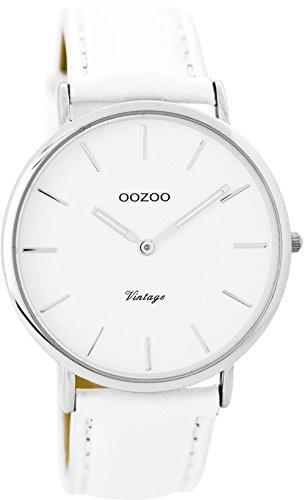 Oozoo Vintage Damenuhr Flach Lederband 40 MM Weiss/Weiss C8783