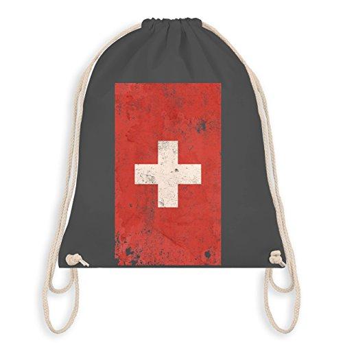 Fußball-Weltmeisterschaft 2018 Kinder - Schweiz Flagge Vintage - Unisize - Dunkelgrau - WM110 - Turnbeutel & Gym Bag