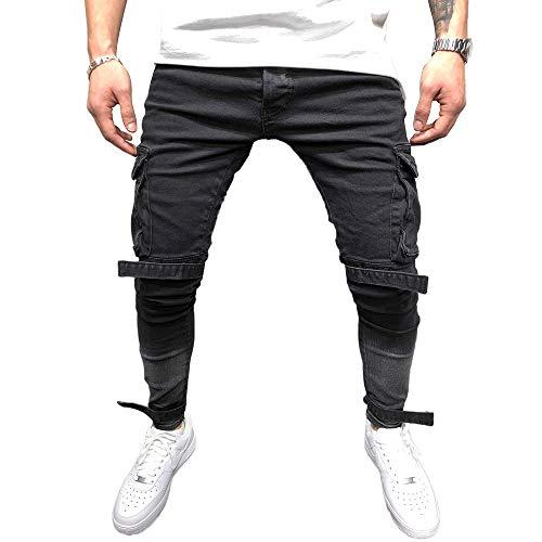 6571552c8271e4 BMEIG Jeans Skinny da Uomo Strappati Stretch Denim Pants Distressed Ripped Sfilacciato  Slim Fit Pantaloni Patchwork