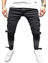 5e92437919 BMEIG Jeans Ajustados Hombre Rotos Pantalones de Mezclilla Elásticos Slim  Fit Ripped Desgastados con Bolsillo Trabajo