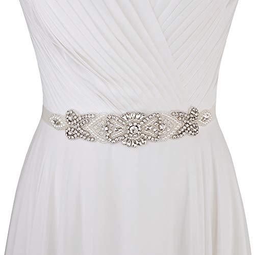 Applique Perlen (ULAPAN Strass Hochzeit Gürtel,Perlen Braut Gürtel,Perlen Braut Sash Strass Hochzeit Sash (Applique nur (kein Band)))