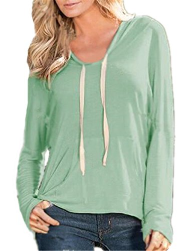Tayaho Sweat Shirt Hooded Sports Femme Automne Tops à Manches Longues Blouse Col Rond Casual Pull Dames Sweat-shirt Coton Sweats à capuche Basique Basique Chemisier Light Green