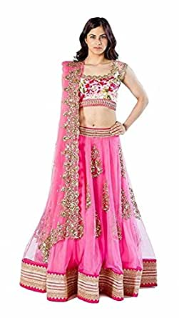 Aarvicouture Women's Net Pink Lehenga Cholis For Girls (Mandir_Pink_Pink_Free Size)