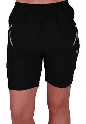 EyeCatch - Damen Entspannte Komfort Elasticized Flexi Stretch Damen Shorts New Schwarz Gr. 48