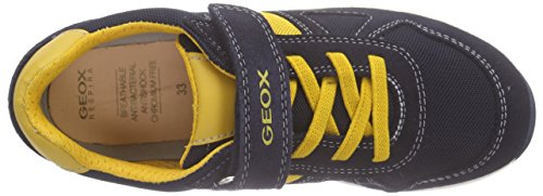 Geox J Xitizen Boy B, Baskets Basses garçon Bleu - Bleu marine/jaune (c0657)