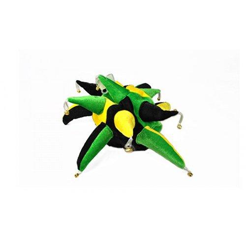 Schwarz Grün & Gelb Neuheit Hofnarren Mütze Kostüm Rugby Fußball Kostüm