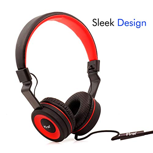 PTron Mamba Headphone Stereo Wired Earphone On-Ear Headset with Mic for All Smartphones (Red)