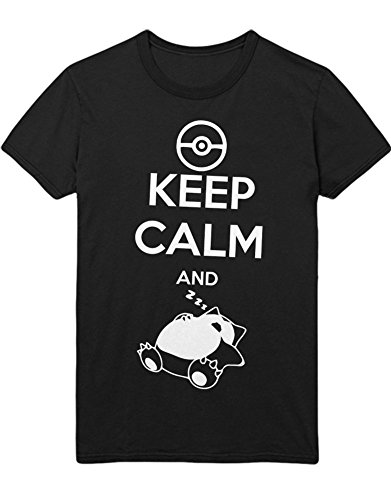 (T-Shirt Pokemon Go Keep Calm and Relaxo Team Rocket Jessie James Mauzi Kanto 1996 Blue Version Pokeball Catch 'Em All Hype X Y Nintendo Blue Red Yellow Plus Hype Nerd Game C210009 Schwarz L)
