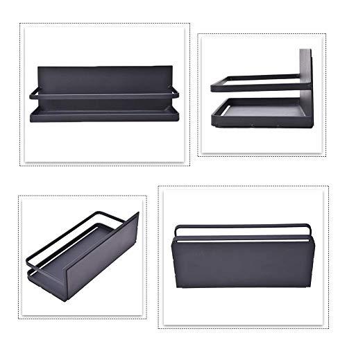 mollylover Küchenregal - Schwarzes schwimmendes Regal im japanischen Stil für Gewürzwerkzeuge Küchengeräte und -geräte, Kühlschrank Side Magnetic Absorption Storage Rack