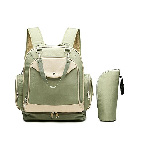 Wickeltasche Rucksack Mode Multi-Funktions-Schulter-Mamabeutel Diagonal Mobile Baby Outing Rucksack, grün