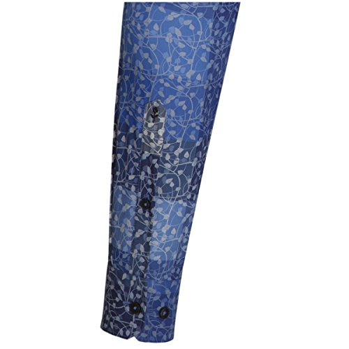 Seidensticker Herren Langarm Hemd Schwarze Rose Slim Fit Modern Kent Print blau geblümt 243950.17 Blau