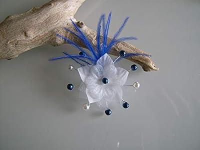 Barrette enfant fille pince cheveux Blanc Bleu Marine Roi (courts détachés) Perles Fleur Plumes p robe Mariée Mariage Soirée Cérémonie Coktail (petit prix, pas cher)