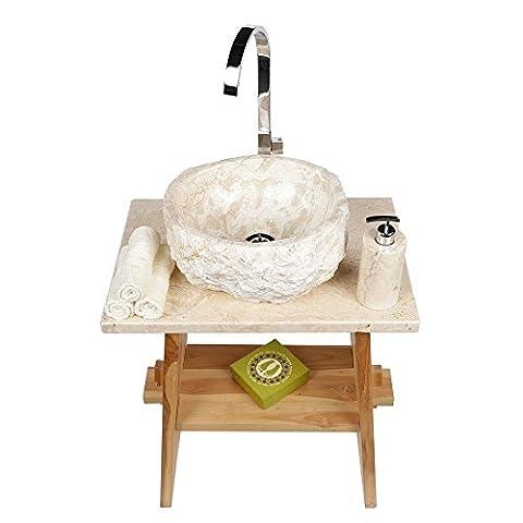 WOHNFREUDEN Marmor Waschbecken 30 cm ✓ rund gehämmert creme ✓ ideal als Steinwaschbecken oder Naturstein Aufsatzwaschbecken für Bad Gäste WC ✓ inkl. techn. Zeichnung ✓ schnell & versandkostenfrei ✓