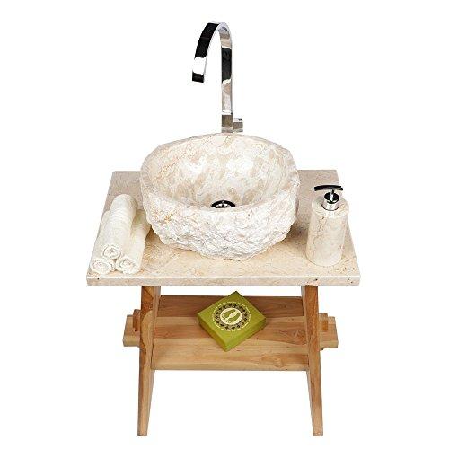 Preisvergleich Produktbild WOHNFREUDEN Marmor Waschbecken 30 cm  rund gehämmert creme  ideal als Steinwaschbecken oder Naturstein Aufsatzwaschbecken für Bad Gäste WC  inkl. techn. Zeichnung  schnell & versandkostenfrei