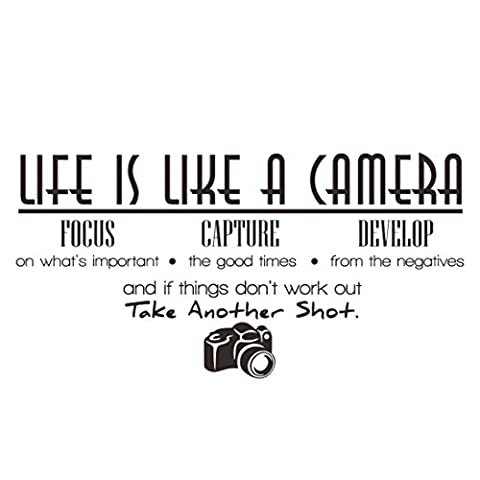Handlife Home Kitchen Artwork Wall Stickers, Art Sticker Decal Mural, Multi Styles, Funny Humorous Comments, Life Is Like A Camera Wall Sticker Quote Vinyl Room Wall Decal Home