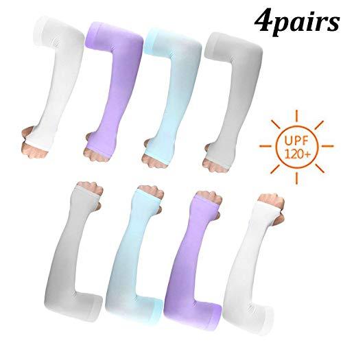 WENTS Manche de Bras Protection UV Sun Sport de Refroidissement Manchon de Compression Anti-UV Protection pour Sports et Activités en extérieur 4 Pairs