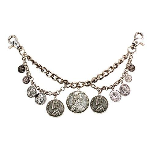 Alpenflüstern Trachten-Charivari Münzen - Hochwertiger Herren-Trachtenschmuck mit Münz-Anhängern für die Lederhose antik-Silber-Farben HCH004