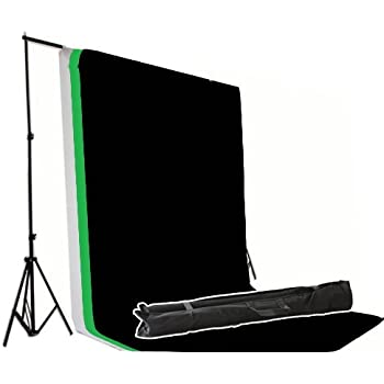 Black White Green Three Backdrops Photo Studio 2m Background Stand Support Photography Set