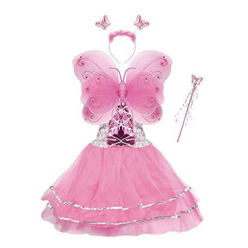 TGP Schmetterling Kostüm für Mädchen - 4-teiliges Set - Feenflügel/Schmetterlingsflügel Verkleiden ()