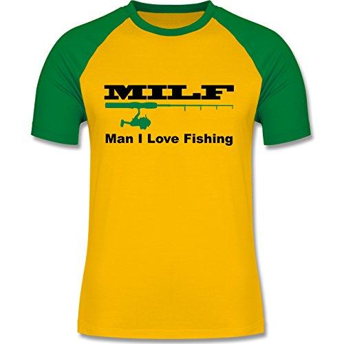 Angeln - MILF Man I Love Fishing - zweifarbiges Baseballshirt für Männer Gelb/Grün