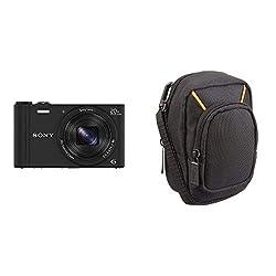 Sony DSC-WX350 Digitalkamera (18 Megapixel, 20-Fach Opt. Zoom, 7,5 cm (3 Zoll) LCD-Display, NFC, WiFi) schwarz & AmazonBasics Kameratasche für Kompaktkameras, groß