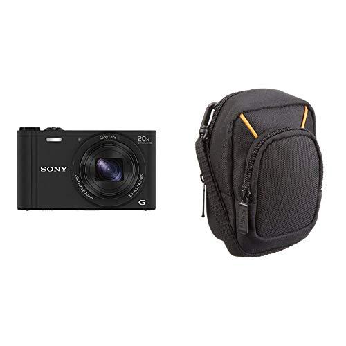 Sony DSC-WX350 Digitalkamera (18 Megapixel, 20-Fach Opt. Zoom, 7,5 cm (3 Zoll) LCD-Display, NFC, WiFi) schwarz & AmazonBasics Kameratasche für Kompaktkameras, groß Point-and-shoot-tv