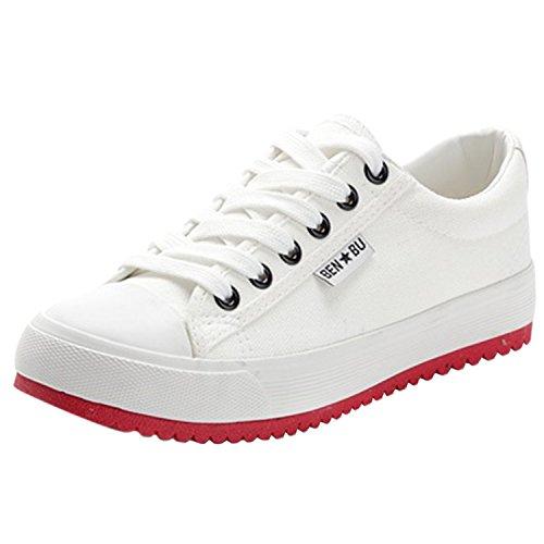 Oasap Women's Casual Low Top Flat Platform Sneakers White