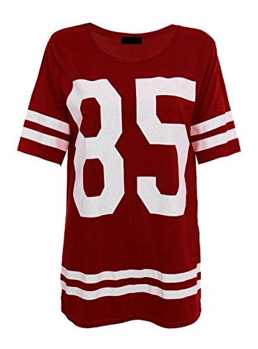 Islander Fashions Womens 85 Imprimer Varsity Baggy T Shirt Mesdames American Baseball Jersey Tshirt Top S/M, M/L Wine