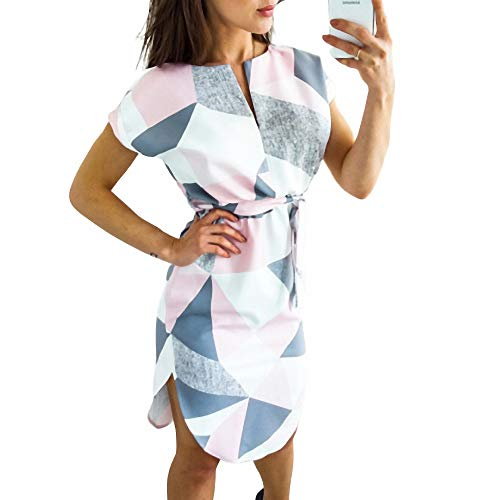 YuJian12 Heißer Frauen geometrischen Druck Sommer Boho Strand Dress lose fledermausärmel Dress Weiß