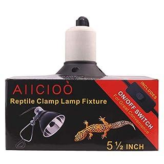 AIICIOO Lichtkuppel für Terrarium/Vivarium E27 Lampe Reflektor mit Klemmhalter geeignet für Reptilienheizung/Habitat Birne UK 3-polig Steckertiefe 14 cm