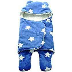 mainaisi Swaddle Wrap Manta para bebés saco de dormir Cartoon suave de doble capa L/Blue Five-pointed Star Talla:78X86cm(0-24months)