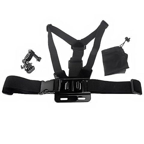 Sangle de thorax/ Rubande réglable ceinture élastique avec 3- way support de base réglable pour GoPro Hero 3 Hero 2 Hero 3+- Noir