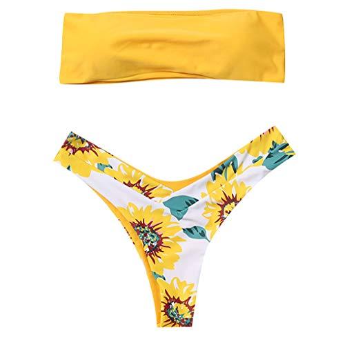 Fossen Bikinis Mujer 2019 Push up con Relleno - Estampado de cocotero en Traje de Baño de Tubo - Brasileños...