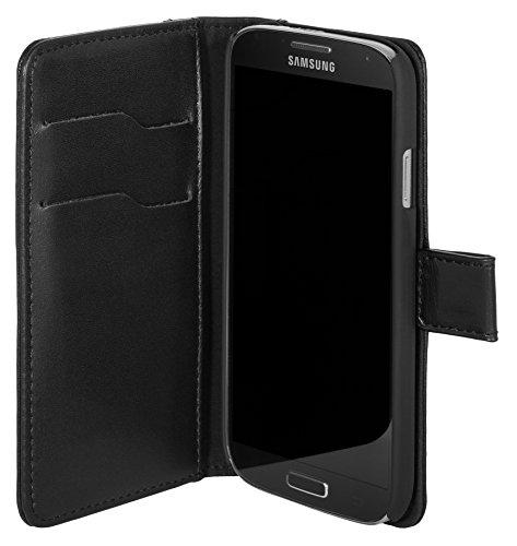 Samsung Galaxy S4 Lederhülle / Ledertasche / Hülle / Tasche Booklet mit Magnetverschluss aus echtem Leder Schwarz mit Kartenfächer und Aufstellfunktion