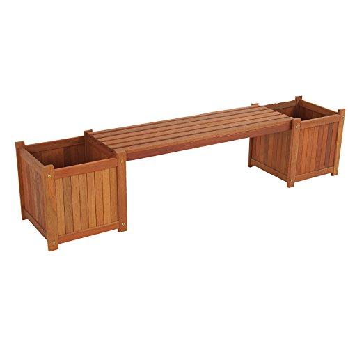 Gartenbank 2in1 Bank mit 2 Pflanzkübeln Hartholz 174 cm Sitzfläche abnehmbar