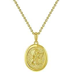 In Season Jewelry Collier avec Pendentif en Forme d'ange Gardien Plaqué Or Jaune 18 carats 45,7 cm
