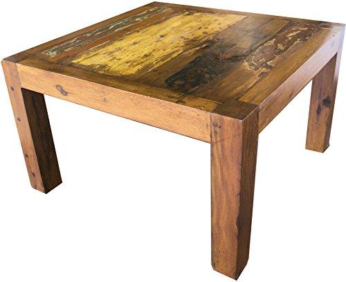 Guru-Shop Table Basse Carrée, Table Basse en Teck Recyclé - Modèle 5, Marron, 43x80x80 cm, Tables Basses Tables de sol