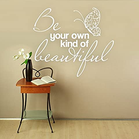 "Removable Vinyl Wall Sticker Quotes Lettering Art ""Be Your Own Kind Of Beautiful"" Beautiful Butterfly Wall Decal Wallpaper (Medium,Black)"